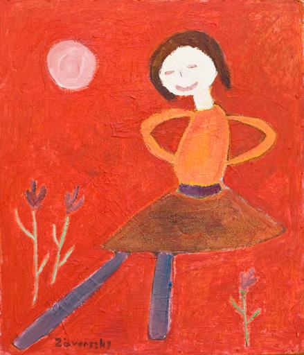 piros háttér előtt réten táncoló kislány - pasztel rajz